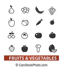 &, קבע, ירקות, איקונים, וקטור, פירות