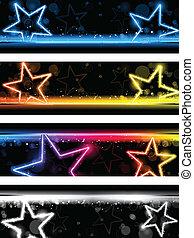קבע, כוכבים, נאון, ארבעה, מבריק, רקע, דגל