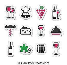 קבע, כוס, מדבקות, -, בקבוק, יין