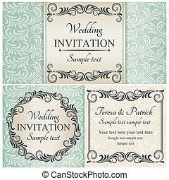 קבע, כחול, ברוק, הזמנה של חתונה