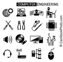 קבע, להנדס, מחשב, עצב, טכנאי, איקון