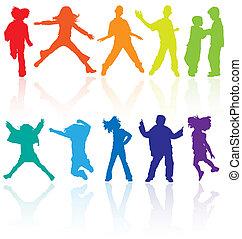 קבע, לרקוד, צבע, השתקפות., מתבגרים, לקפוץ, צלליות, וקטור, להניח