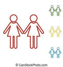 קבע, משפחה, איקונים, חתום., קו, לסביט