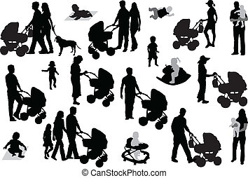 קבע, משפחה, silhouettes.