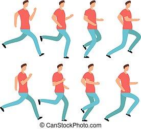 קבע, סדר, אנימציה, צעיר, clothes., הפרד, רגוע, לרוץ, וקטור, מסגרות, jogging., זכר, ציור היתולי, איש