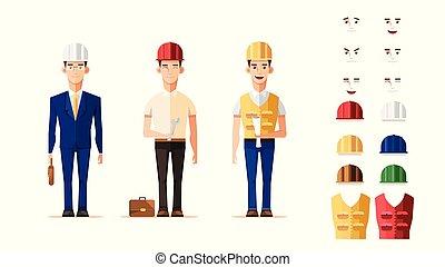 קבע, עובד, אופי, וקטור, עצב, חכם, הנדס