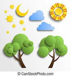 קבע, עננים, ירח, חתוך, icons., נייר, עץ, כוכבים, שמש, design.