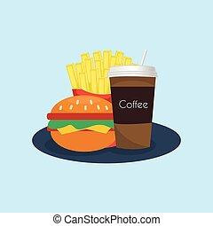 קבע, צבעוני, אוכל, icons., מהיר, ציור היתולי