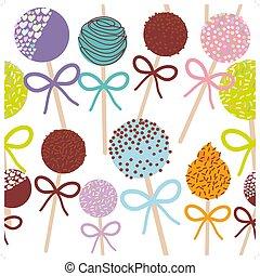 קבע, צבעוני, תבנית, הפרד, כרע, פופים, רקע., וקטור, seamless, מתוק, עוגה, לבן
