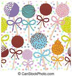 קבע, צבעוני, תבנית, פולקה, הפרד, seamless, פופים, רקע., וקטור, מתוק, עוגה, לבן, כרע, נקד
