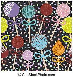 קבע, צבעוני, תבנית, פולקה, הפרד, seamless, פופים, רקע., וקטור, שחור, מתוק, עוגה, כרע, נקד