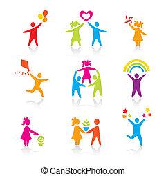 קבע, צללית, אנשים, צחק, איש, איקונים, -, סמל., בחור, אישה, ילדה, הורים, אבא, vector., family., אמא, ילד