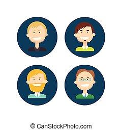 קבע, קבץ, אנשים של עסק, אנשי עסק, התחבר, איש, איקון