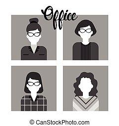 קבע, קבץ, משרד, אנשים של עסק, עובד, אנשי עסק, אישה, התחבר, איקון
