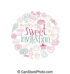 קבע, קינוחים, ממתקים, וקטור, עוגות, כרטיס, -invitation