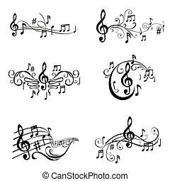 קבע, רואה, -, דוגמה, וקטור, מוסיקלי
