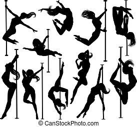 קבע, רקדן, קוטב, צלליות, נשים