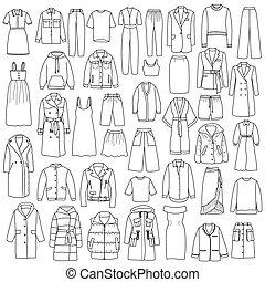קבע, שרבט, העבר, וקטור, צייר, נשים, בגדים