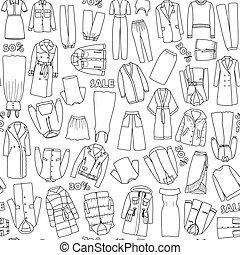 קבע, שרבט, מכירה, seamless, וקטור, תבנית, נשים, בגדים