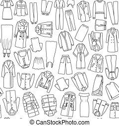 קבע, שרבט, seamless, וקטור, תבנית, נשים, בגדים