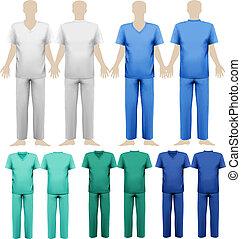 קבע, illustration., רפואי, overalls., וקטור, עצב, template.