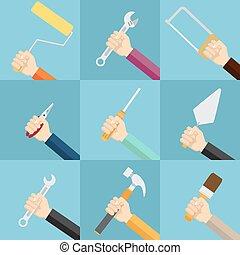 קבע, tools., להחזיק ידיים
