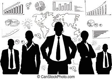 קבץ, אנשים של עסק, גרף, שחור, צללית