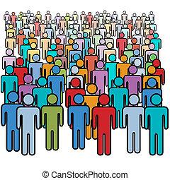 קבץ, דחוס, אנשים, גדול, צבעים, סוציאלי, הרבה
