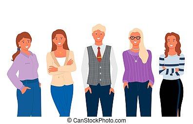 קבץ, הפרד, עובדים, משרד, דמות של עסק