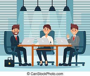 קבץ, משרד, אנשים של עסק, דוגמה, אותיות, וקטור, פנים, צבעוני