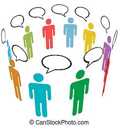 קבץ, רשת, אנשים, תקשורת, סמל, צבעים, סוציאלי, דבר