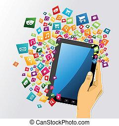 קדור, אפליקציה, icons., העבר, פי.סי, בן אנוש, דיגיטלי