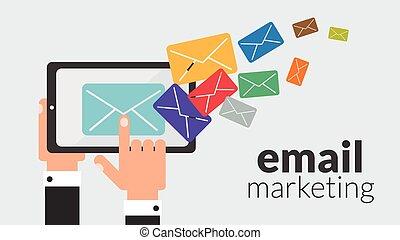 קדור, עסק, שלח, וקטור, marketing., לפרסם, אונליין
