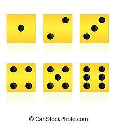 קוביה, צהוב, משחק, וקטור, דוגמה, לשחק