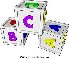 קוביות, דוגמה, לבן, צעצועים, וקטור, רקע.