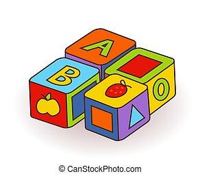 קוביות, מכתבים, מעץ, אלפבית, *s*, toys., וקטור, מכתב, פירות, תינוק, pictures.