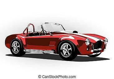 קוברה, מכונית קלאסית, אדום, ספורט, רואדסטאר