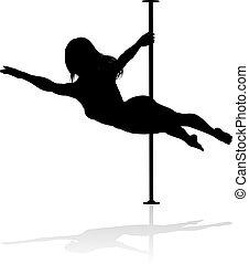 קוטב, רקדן, צללית, אישה