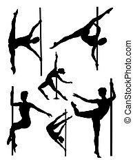 קוטב, רקדן, silhouettes.