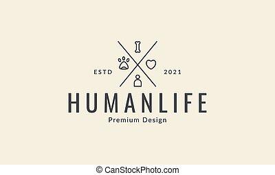 קוים, פשוט, חיות בית, עצב, סמל, בן אנוש, לוגו, גרפי, איקון, וקטור, דוגמה