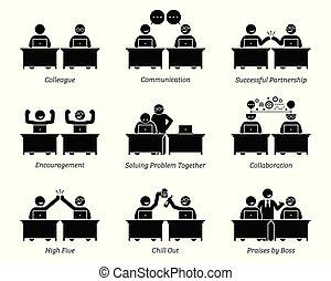 קולגה, שותפים, עסק, לעבוד, משרד., ביחד, מקום עבודה, ביעילות