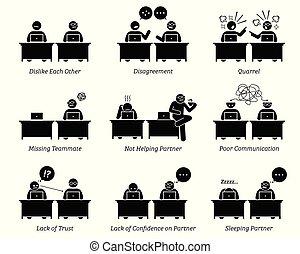 קולגה, שותפים, עסק, לעבוד, משרד., ביחד, מקום עבודה, inefficiently