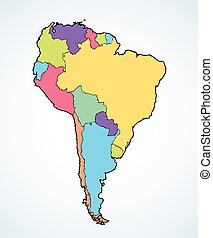 קונטיננט, דרום אמריקה, ציור, countries., מיתארים, וקטור