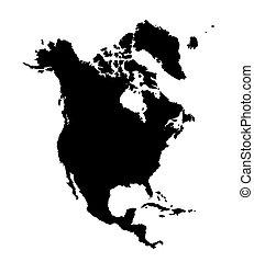 קונטיננט, ציור, אמריקאי, צפון, countries., מיתארים, וקטור