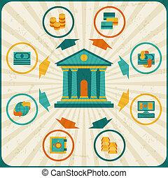 קונצפטואלי, בנקאות, infographic., עסק