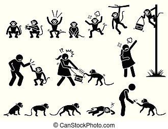 קוף, הבן, פיכטוגראם, הדבק, בן אנוש, cliparts.