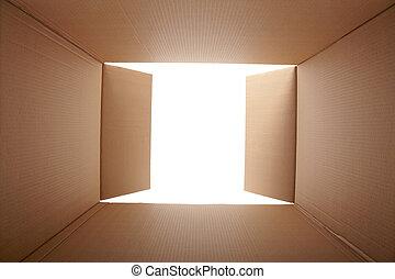 קופסה, בתוך, קרטון, הבט