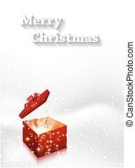 קופסה, וקטור, מתנה, editable, רקע, קל, חג המולד