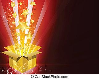 קופסה, זהוב, כוכבים, מתנה, חג המולד