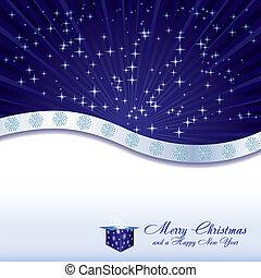 קופסה כחולה, כוכבים, מתנה, פתיתות שלג, דוגמה, וקטור, רקע, חג המולד